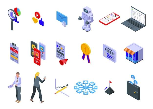 Online-marketing-symbole festgelegt. isometrischer satz von online-marketing-symbolen für web lokalisiert auf weißem hintergrund
