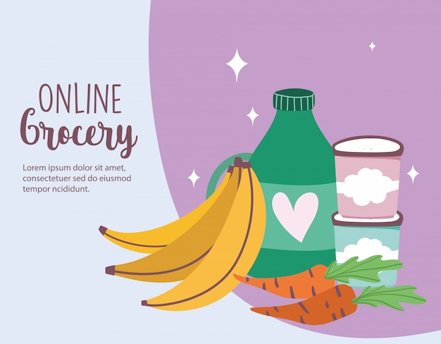 Online-markt, bananen-karotten-produkte, lebensmittellieferung im lebensmittelgeschäft