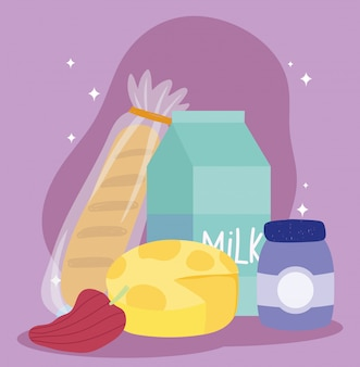 Online-markt, brotkäse pfeffermilch, lebensmittellieferung im supermarkt