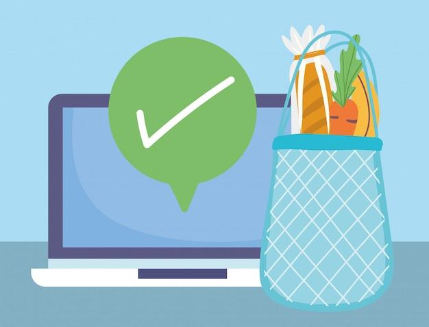 Online-markt, laptop häkchen umweltfreundliche tasche lebensmittel lieferung im lebensmittelgeschäft