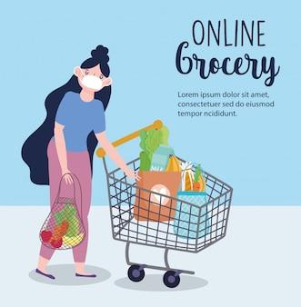 Online-markt, mädchen mit maske einkaufswagen und umweltfreundliche tasche, lebensmittellieferung im lebensmittelgeschäft