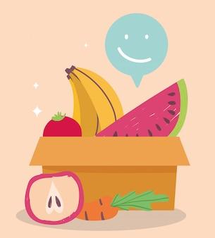 Online-markt, pappkarton wassermelone banane und apfel, lebensmittellieferung im lebensmittelgeschäft