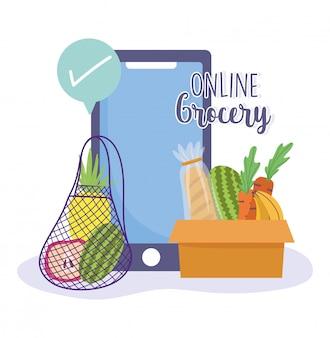 Online-markt, smartphone häkchen bei der bestellung von frischen lebensmitteln lebensmittelgeschäft nach hause lieferung