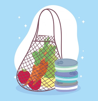 Online-markt, umweltfreundliche tasche mit obst und gemüse, lebensmittellieferung im lebensmittelgeschäft