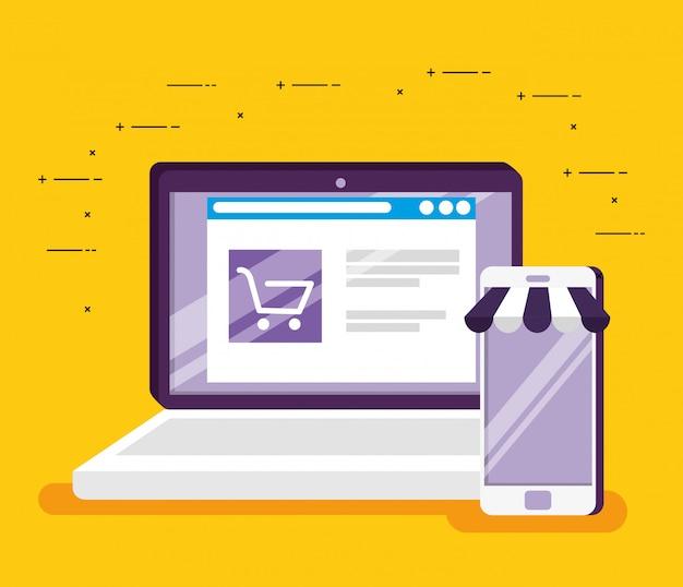 Online-markt-website im laptop und smartphone