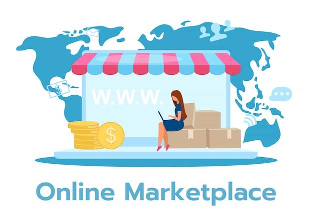 Online-marktplatzillustration. multichannel-e-commerce-site. direktversand. große produktauswahl. internet-shop, geschäft. geschäftsmodell. zeichentrickfigur auf weißem hintergrund