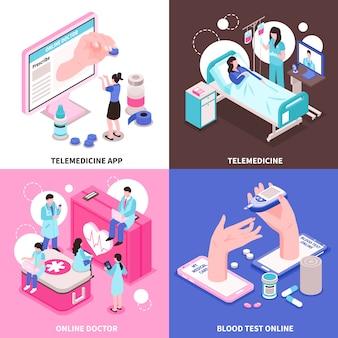 Online-medizin 2x2 design-konzept mit ärzten und medizinischen geräten auf 3d-isometrie des bunten hintergrunds