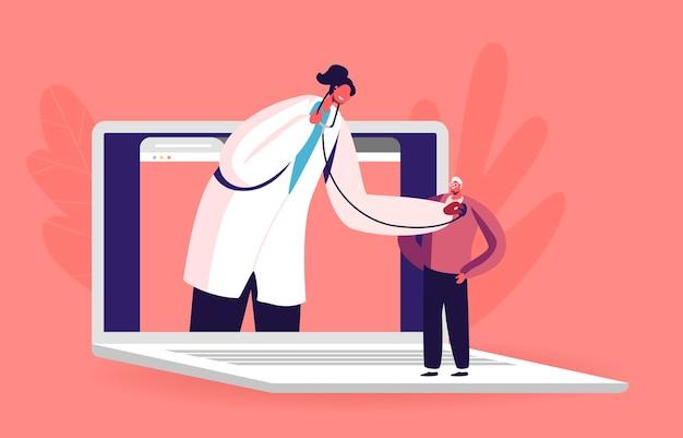Online-medizin. arzt-charakter im weißen kittel auf riesigem laptop-bildschirm hören patientenherzschlag mit stethoskop