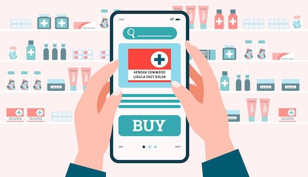 Online-medizin-fern-internet-apotheke speichern eine flache vektorgrafik