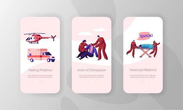 Online-medizin-support-idee mobile app-seite onboard screen set. gesundheitstechnologie. krankenwagen auto und hubschrauber, website und webseite für ärzte und patienten. flache karikatur-vektor-illustration