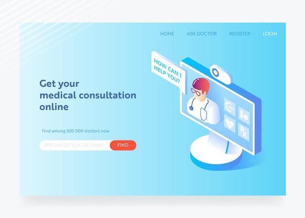 Online-medizin und gesundheitswesen flaches isometrisches designkonzept. medizinische dienste, apotheke landing page vorlage. layout der webseite zur gesundheitsberatung. vektor-illustration