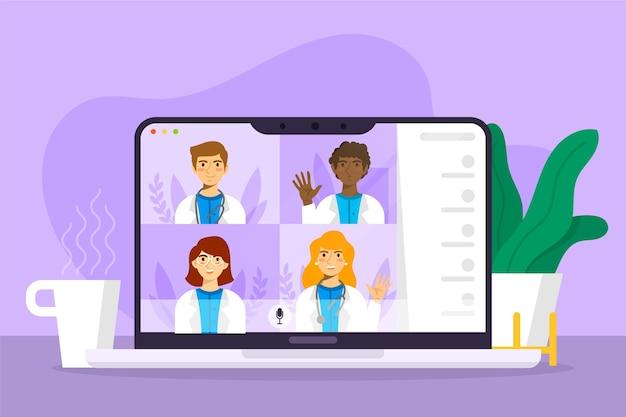Online medizinische konferenz illustriert flaches design