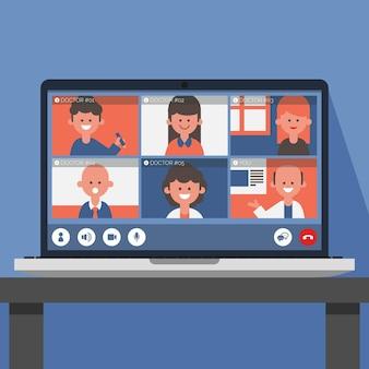 Online medizinische konferenz illustriert