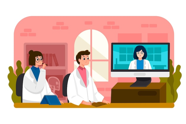 Online-medizinische konferenz im cartoon-stil