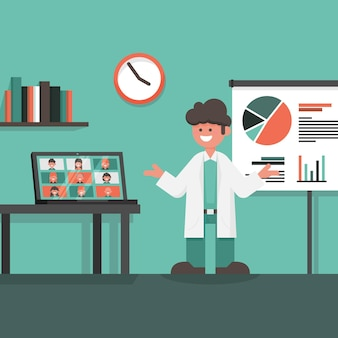 Online medizinische konferenz mit laptop