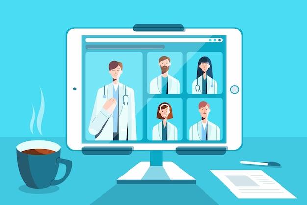 Online medizinische konferenz mit tablet