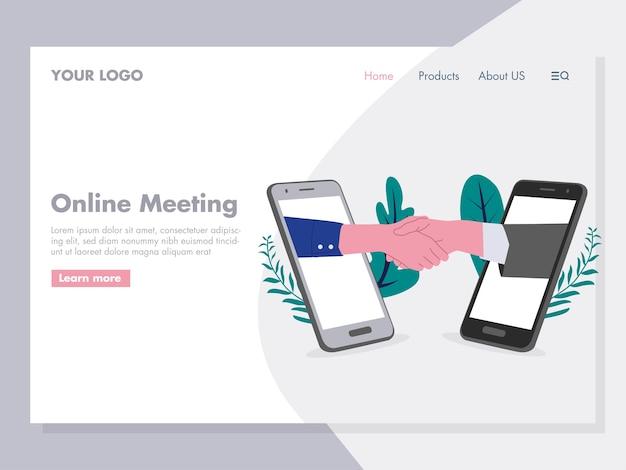 Online-meeting-angebote illustration für die zielseite