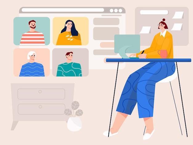 Online-meeting-videoanrufe mit illustration der menschen