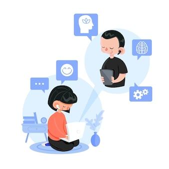 Online mit dem lebensstil des therapeuten sprechen