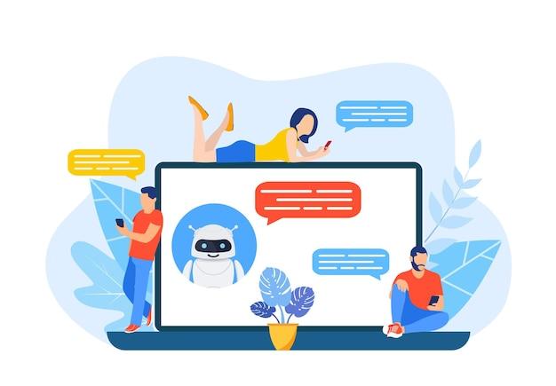 Online mit einem chatbot auf einem laptop sprechen.