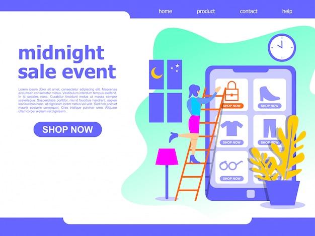 Online-mitternachtsverkauf einkauf landing page illustration