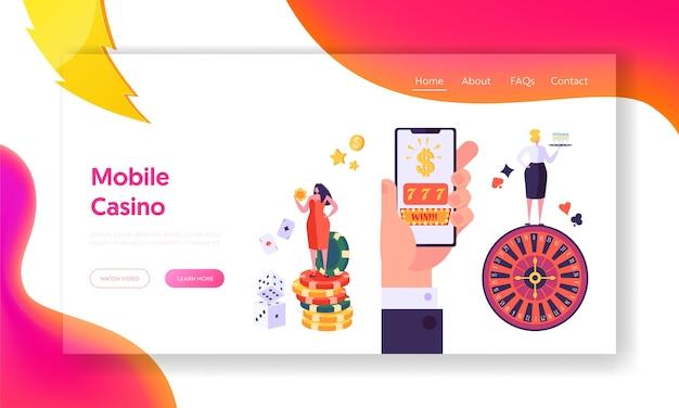 Online mobile casino glücksspielkonzept landing page. weibliches gewinn-glücksspiel. leute spielen roulette oder blackjack lucky concept website oder webseite. flache karikatur-vektor-illustration