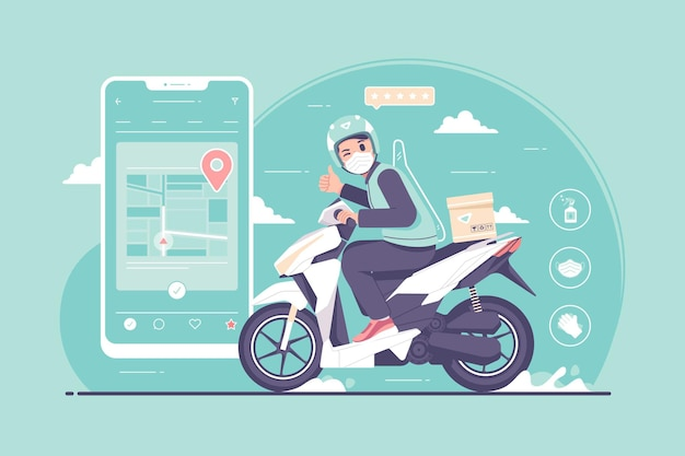 Online-motorrad-taxifahrer während der pandemie illustration