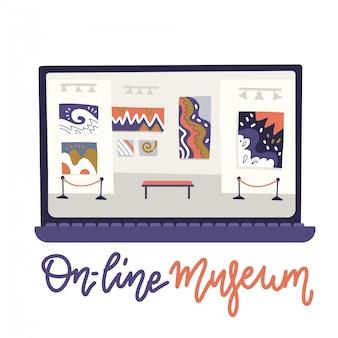 Online museum concept art galerie. die programmoberfläche befindet sich auf dem laptop-bildschirm. stellen sie abstraktes eichhörnchen aus. illustration