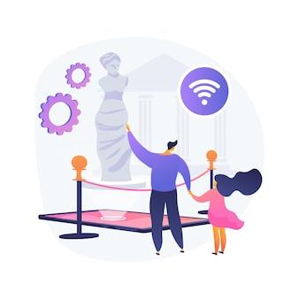 Online-museumstouren abstrakte konzeptvektorillustration. kostenlose virtuelle galerietour, online-ausstellung, soziale distanz, zuhause bleiben, kunsttherapie, freizeit, audio-guide abstrakte metapher.