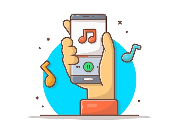 Online music player mit hand, tune und note of music icon. mobile musik abspielen