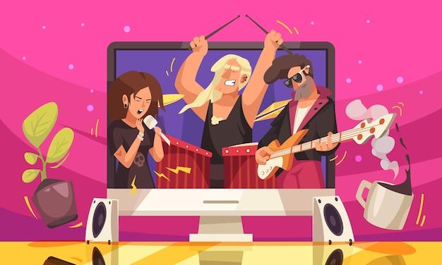 Online-musik-konzertwohnung mit jungen mitgliedern der rockmusikgruppe auf großleinwand