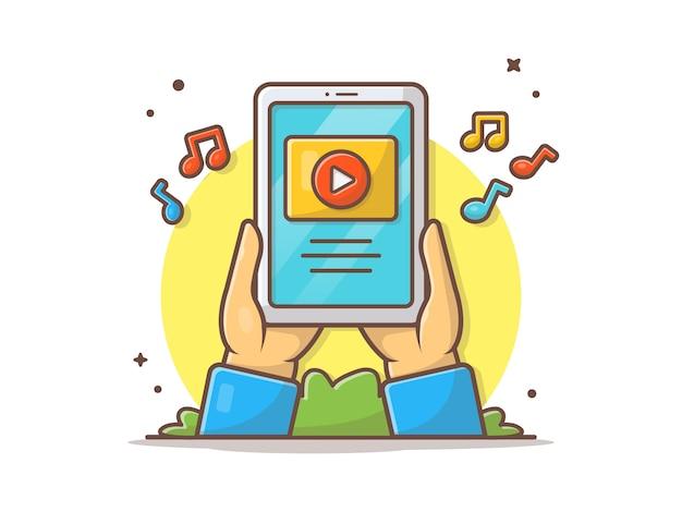 Online-musik-video auf tablet-vektor-ikonen-illustration