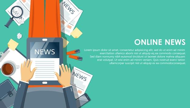 Online-nachrichtenkonzept. lesen sie die zeitung auf ihrem tablet oder smartphone