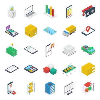 Online-navigation isometrische icons pack