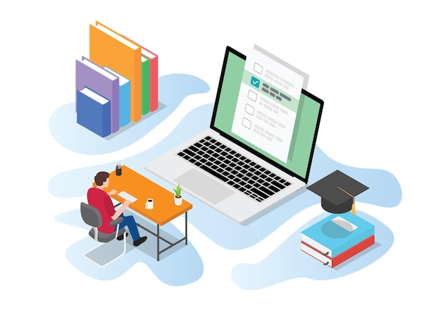 Online- oder live-testprüfung mit personen, die am computer auf dem schreibtisch mit moderner isometrischer illustration studieren