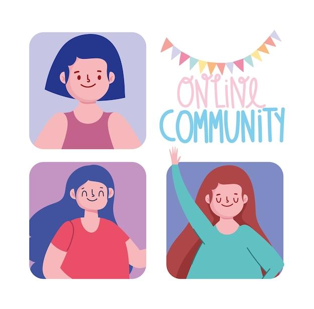 Online-party, community girls happy meeting feier