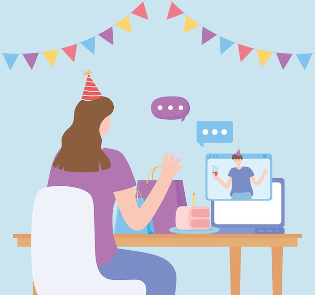 Online-party, frau und mann, die durch computerfeiergeburtstag sprechen