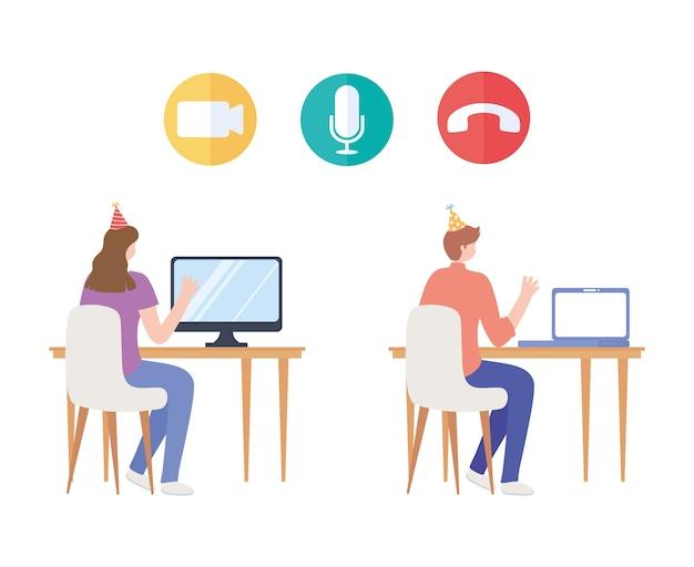 Online-party, frau und mann sitzen mit partyhut und computer