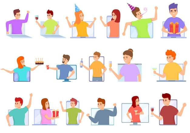Online-party-icons gesetzt. cartoon-set von online-party-icons