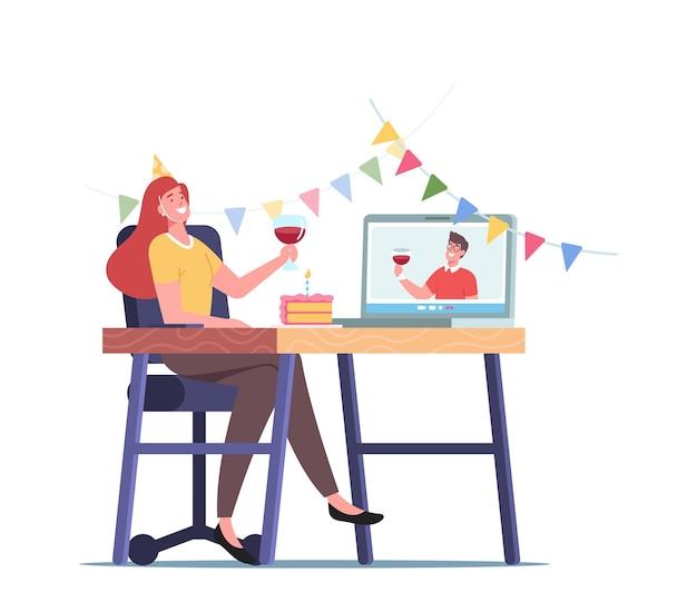 Online-party, junge weibliche figur hält ein glas mit rotwein, feiert den urlaub und kommuniziert mit einem freund von zu hause aus