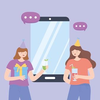 Online-party, mädchen mit getränkehut und smartphone feiern vektorillustration