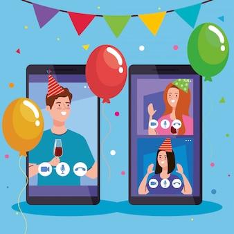 Online-party, treffen mit freunden, leute haben online-party zusammen in quarantäne, videokonferenz