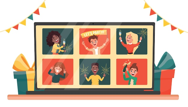 Online-party virtuelle neujahrsfeiern, die per videoanruf mit freunden feiern und sich online treffen. karikatur flache illustration.