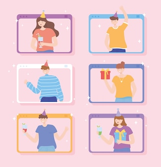 Online-party, website mit menschen feiern mit geschenken und getränken vektor-illustration
