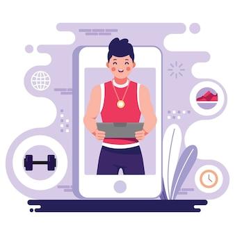 Online personal trainer auf dem smartphone