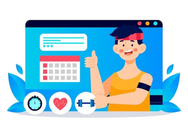 Online personal trainer illustriert