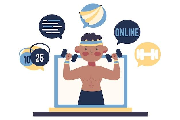 Online personal trainer illustriertes konzept