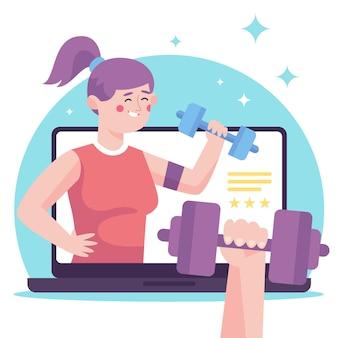 Online personal trainer konzept