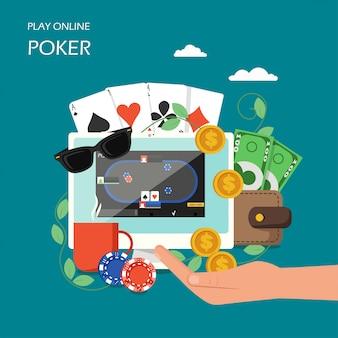 Online poker im flachen stil