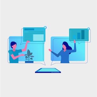 Online-projektmanager-gruppendiskussion